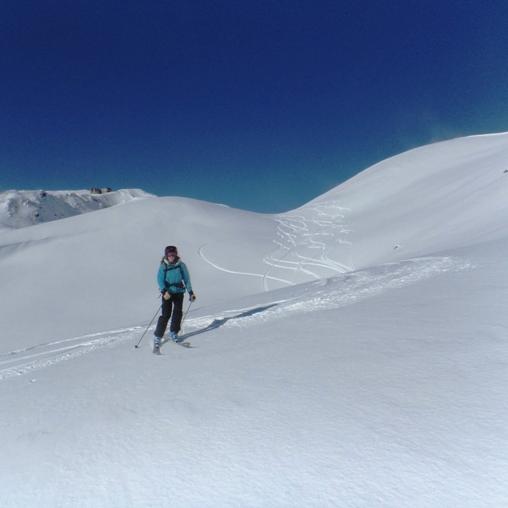A skis, dpuis la gare intermédiaire du Pic du midi
